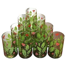 Set of 10 Christmas Holly & Berry Avocado Green Tumbler Glasses