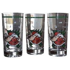 Set of 3 Christmas Santa Carrying Tree & Gifts Tumbler Drinking Glasses