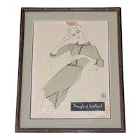1960 Pringle of Scotland Original Vintage Women's Fashion Ad in Ornate Dark Wood Frame