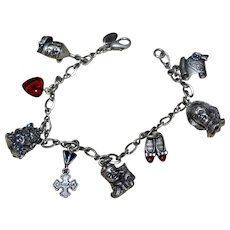 Wizard of Oz Solid Pewter 3D 8 Charms w/ Link Bracelet