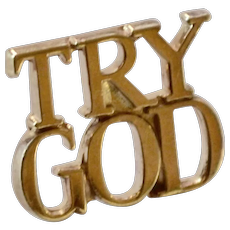 Tiffany & Co. Sterling Vermeil TRY GOD Unisex Tie Tack Pin
