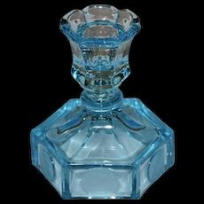 Fostoria Coin Pattern Azure Blue Glass Candle Holder