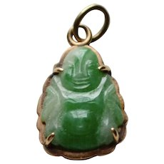 14K Apple Green Carved Jade Buddha Pendant or Charm