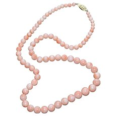 Natural Pink Salmon Coral Bead Necklace w/ Sterling Silver Clasp