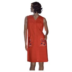 1960s Gilead Embroidered Orange Duster House Coat or Lounge Wear