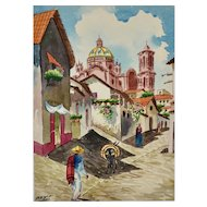 Signed Original Watercolor Painting of Mexican Village w/ Burro & People