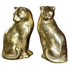 Set of 2 Gold Flecked Modernist Style Panther Sculptures - Red Tag Sale Item