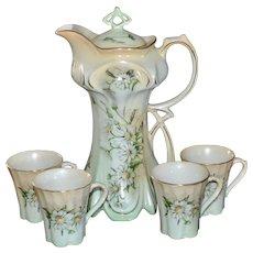 1960s Vintage 5-Pc Porcelain Daisy Flower Chocolate Pot w/ 4 Matching Cups