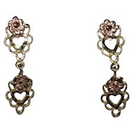 14K Yellow & Rose Gold Petite Heart Dangle Earrings