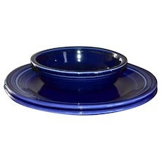 Fiesta Ware Set of 2 Cobalt Blue Dinner Plates & Coupe Soup/Cereal Bowl