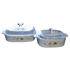 Corning Ware Set of 2 Large Wildflower Orange Poppy Casserole Dishes w/ Lids