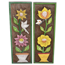 "Large 24"" Pair of Mexican Folk Art Carved & Painted Wood Wall Sculpture Plaques ~ Flowers, Dove & Butterfly!"