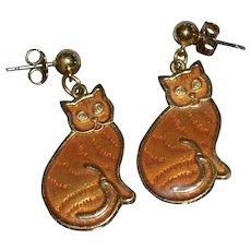 Bright Orange Guilloche Enamel Cat Dangle Earrings