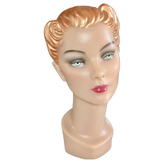 Signed DecoEyes Wax Female Mannequin Bust w/ Pierced Ears