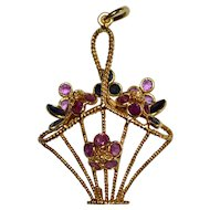 Large 14K Gold Ruby & Blue Sapphire Flowers in a Basket Pendant