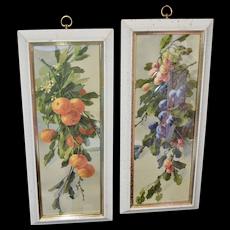 "Turner Mfg Large 22"" Hollywood Regency Pair of Fruit Prints in Original Speckled White Wood Frames"