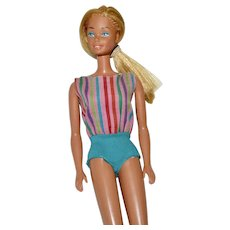 1966 Mattel Suntan Barbie In Striped Swimsuit