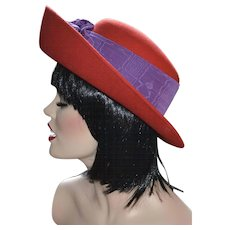Toucan Signed Cherry Red Wool w/ Purple Trim Hat