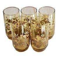 Set of 5 Decorative Flower & Leaf Light Amber Drinking Glass Tumblers
