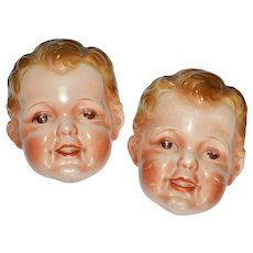 1930s Signed Goldcastle Set of 2 Painted Ceramic Cute Baby Wall Plaques