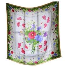 Liz Claiborne Pink, Purple & Blue Flowers Square Silk Scarf