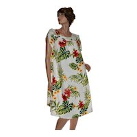 NOS Tagged Puanani Bold Flower Print Caftan Muumuu Lounge Dress