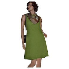 1960s Jan Arey Avocado Green Sleeveless A-Line Dress