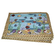 Set of 4 'Fish in the Sea' Marine Life Tapestry Placemats - Red Tag Sale Item
