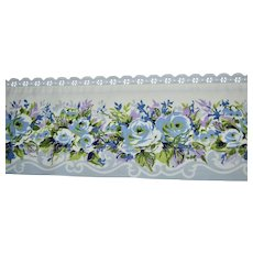 Cannon Royal Family KING Size Blue Rose Flower White Lace Flat Sheet