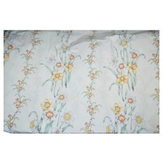 Stevens White Flowers w/ Orange & Yellow Accents No Iron Percale Twin Flat Sheet