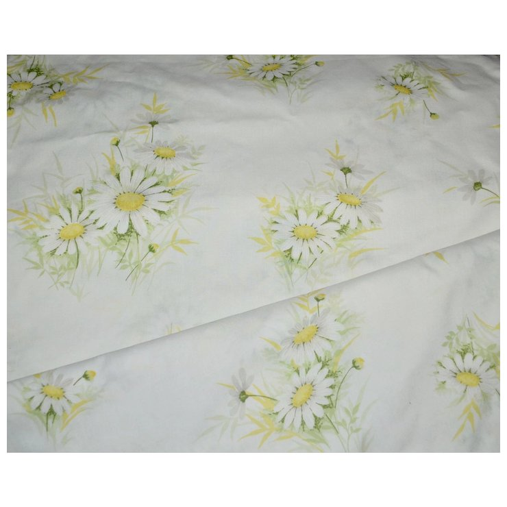 Wondercale By Springmaid Daisy Flower White Yellow Double Flat Sheet