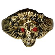 Victorian Revival Enamel & Rhinestone Gold Plated Lion Ring ~ Size 9 3/4