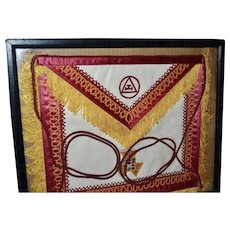 Vintage Freemason Masonic White Leather & Embroidery Apron w/ Fringe & Tassels in Frame