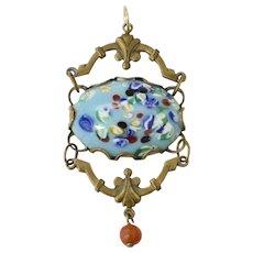 Large Edwardian Blue Glass & Brass Pendant w/ Faux Coral Dangle