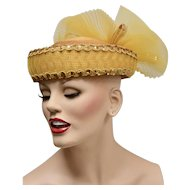 Deborah of New York Glitzy Gold Sequin Fancy Tulle Spray Bow Hat