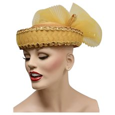 Deborah of New York Glitzy Gold Sequin Fancy Tulle Spray Bow Hat
