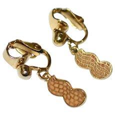1970s Cute Enamel Peanut 'Jimmy Carter' Dangle Earrings