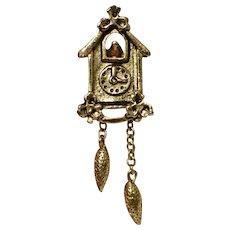 Avon Signed Tiny Cuckoo Clock w/ Pine Cone Pendulum Chain Tie Tack Pin