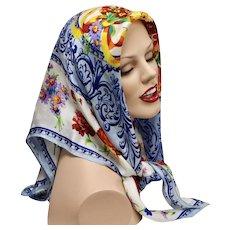 Adrienne Vittadini 'Colorful Wildflower' Blue & White Pure Silk Scarf