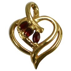 Signed Red Garnet & Sterling Silver Vermeil Open Heart Pendant