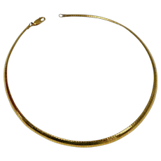 Signed MILOR Italy Sterling Silver Vermeil Wide Flexible Herringbone Necklace