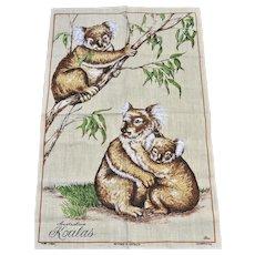 Signed 'Ross' Czechoslovakian Linen KOALA Australia Souvenir Large Tea Towel