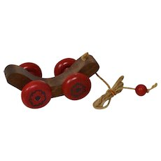A Primitive Pull Toy For Your Doll!  Handcrafted Mechanical Wood Pull Toy