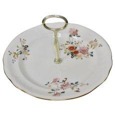 Royal Vale White Bone China Pink Floral Tidbit, Cookie or Cupcake Plate