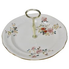 Royal Vale White Bone China Pink Floral Tidbit, Cookie or Cupcake Plate