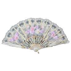 CINER White Hand-painted Pink & Purple Floral Folding Lace Fan in Original Plastic Box