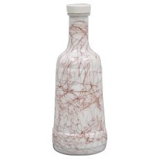 Hazel Atlas Spaghetti String Red Drizzle Heavy Glass Decanter / Bottle