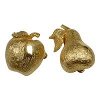 Set of 2 Figural Textured Goldtone Apple & Pear Fruit Scatter Pins