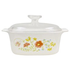 Corning Ware Wildflower Poppy 1.5 QT Casserole Dish with Lid