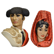 1960s Marwal Set of 2 Spanish Matador Man & Woman Chalkware Bust Sculpture
